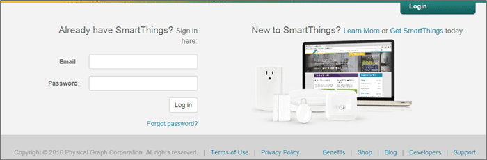 Figure 1 Signing in to SmartThings Account