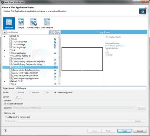 Figure 2 New Tizen Web Project dialog
