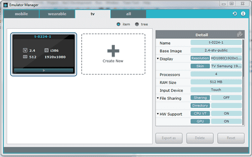 Figure 5 Samsung Tizen TV Emulator Manager