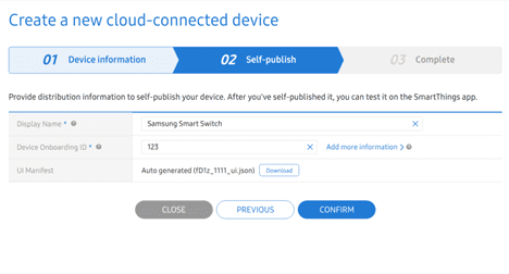 Figure 4 Self-publishing a device