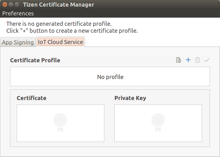Figure 9 Tizen Certificate Manager window