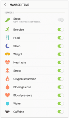 Samsung Health's Trackers