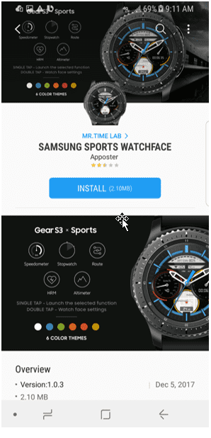 Galaxy Watch App<br>Product Detail Page