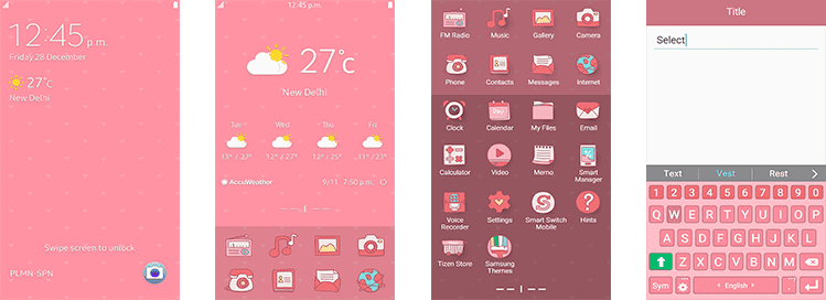 Examples of Samsung Pink Theme